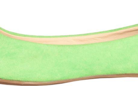 Krásné pistáciově zelené baleríny GAS se stříbrnou špičkou.