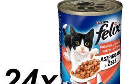 Purina Felix konzervy s hovězím a kuřetem v želé 24 x 400g