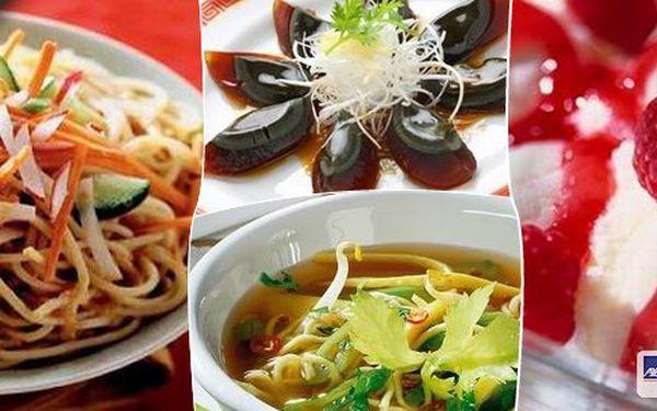 Vychutnejte si menu čínských specialit pro 1 osobu, začnete lehkým předkrmem, pokračujete polévkou a hlavním jídlem a na konec si dáte sladkou tečku. Připravte se na pořádný nášup!