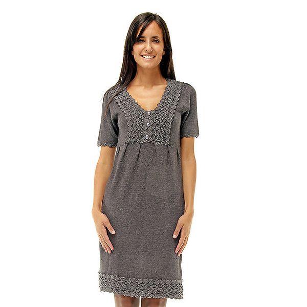 Dámské šedé šaty s aplikacemi Peace&Love