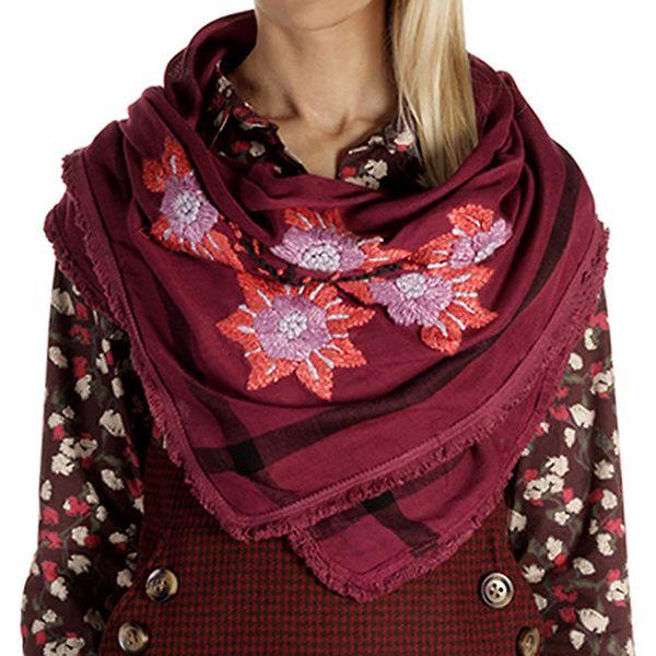 Dámský tmavě růžový šátek s výšivkou Laga
