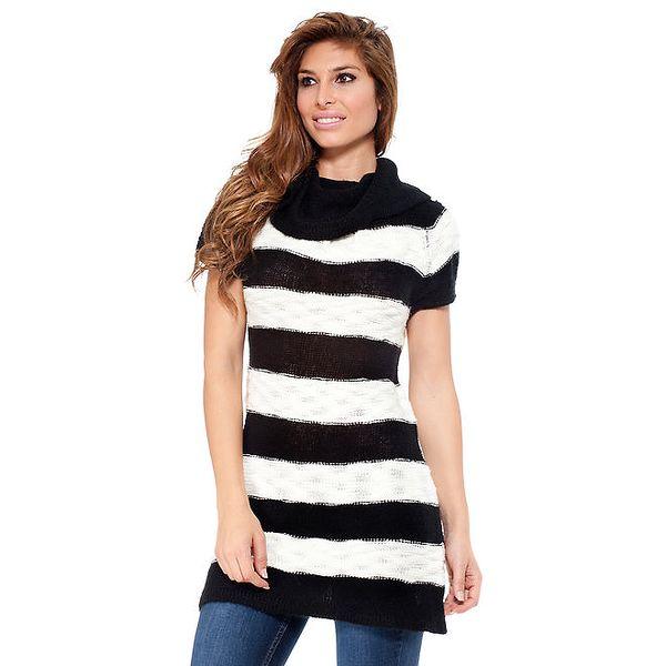 Dámský pruhovaný svetr s krátkým rukávem Peace&Love