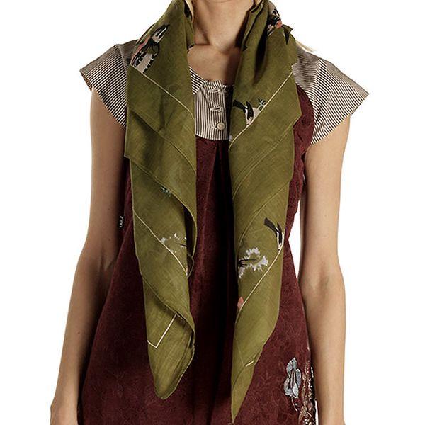 Dámský zelený šátek s potiskem ptáčků Laga