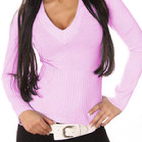 Krásný dámský elegantní svetr s výstřihem do V Fashion H.