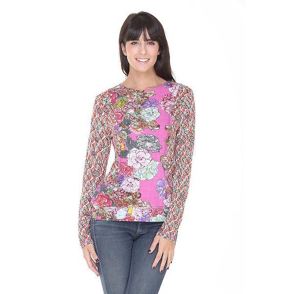 Dámské růžové květinové tričko Peace&Love
