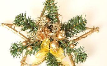 Dekorativní hvězda Poinsettia, zlatá, v. 30 cm, HTH