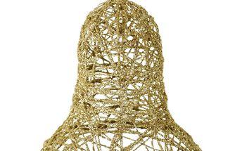 Kovový vánoční zvonek, zlatý