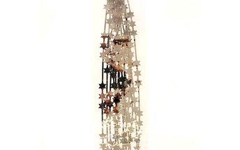 Lameta lesklá s hvězdami, stříbrná, 200 cm, sada 4 ks, HTH