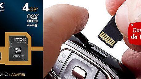 Paměťová karta TDK 4 GB s SD adaptérem