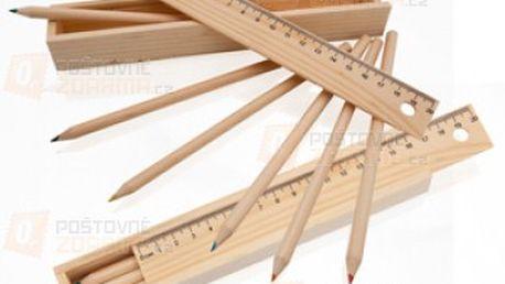Sada 6 pastelek v dřevěné krabičce s pravítkem a poštovné ZDARMA s dodáním do 3 dnů! - 11206708