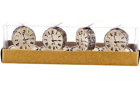 Čajové svíčky ozdobné hodiny, 4 ks