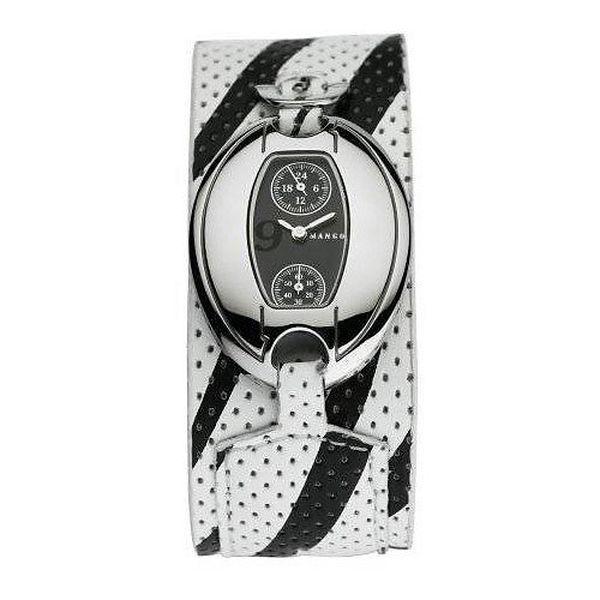 Dámske hodinky Mango s černým 24hodinovým ciferníkem, a černo/bílým koženým řemínkem