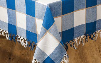 Bavlněný ubrus modrá kostka