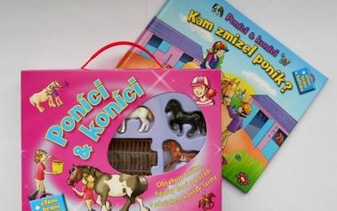 Kufřík poníci a koníci - set knížky, 6 figurek koníků