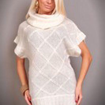 Dámský elegantní svetr Queen O.F. s krátkými rukávy a širokým límcem