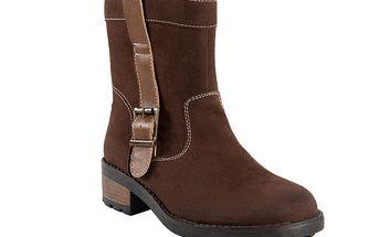 Čokoládové dámské kotníkové boty
