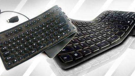Silikonová klávesnice USB + zdarma PS2 redukce odolná vodě, které nevadí, když ji zmačkáte. Velmi originální dárek!