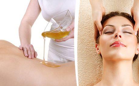 Medová detoxikační masáž nebo indická antistresová masáž a masáž hlavy
