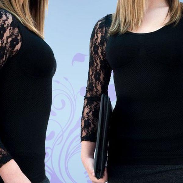 Elegantní kompresní módní triko v černé barvě