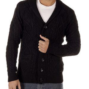Pánský černý kardigan s copánkovým vzorem Bendorff