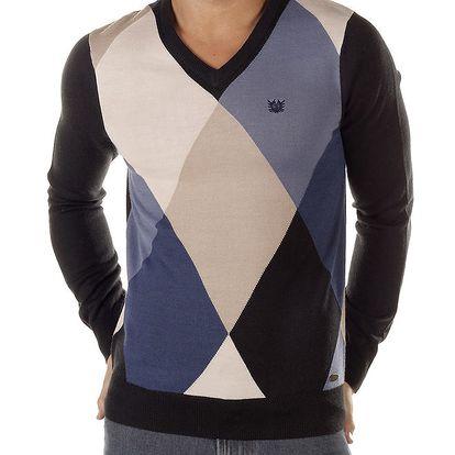 Pánský modře kostkovaný svetr s černými rukávy Bendorff