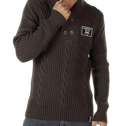 Pánský hnědý svetr s copánkovým vzorem Bendorff