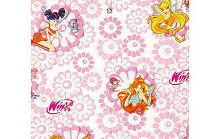 Nádherný balicí papír s motivem kouzelných víl z kolekce Winx Club, barva růžová