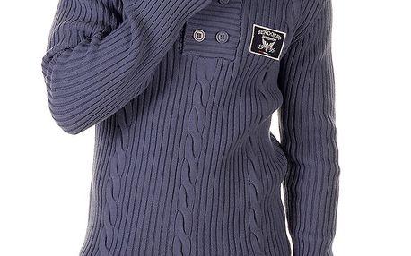 Pánský modrý svetr s copánkovým vzorem Bendorff