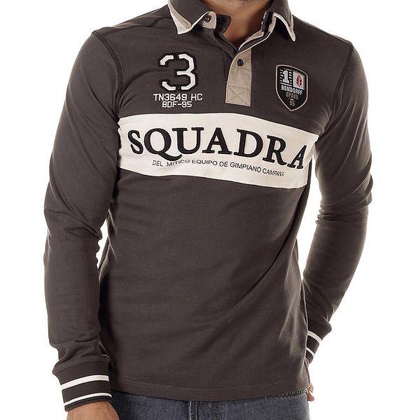 Pánské šedohnědé polo triko s dlouhými rukávy Bendorff