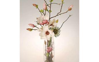 Aranžmá v skleněné váze magnolia, 71 cm, HTH