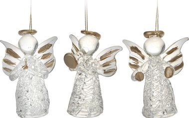 Skleněný anděl zlatý, sada 3 kusů