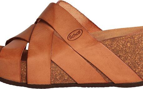 Dámské nepřehlédnutelné kožené sandály na vyšším klínu Dr.Scholl / Erula - hnědé