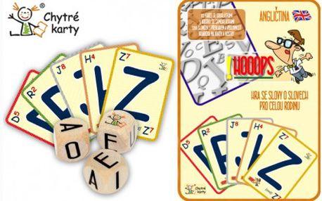 Chytré karty HOOOPS jsou zábavné a vzdělávácí karty, které naučí celou rodinu anglicky! Skládejte anglická slovíčka, naučte se správnou výslovnost a rozšiřujte svou slovní zásobu! Báječný tip na dárek nejen pod stromeček!