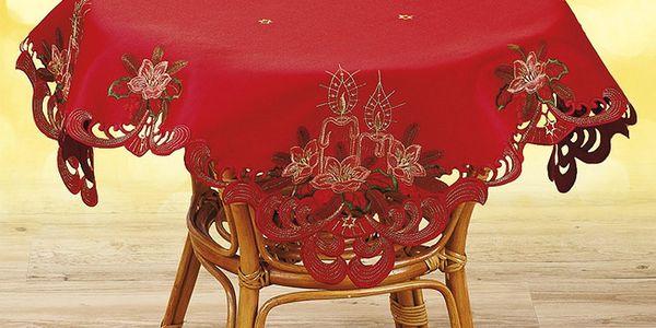 Vánoční ubrus Svíce, červená, Forbyt, 85 x 85 cm
