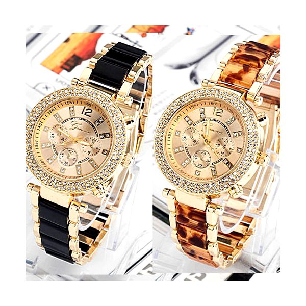 Zářící hodinky s kamínky a designovým páskem a poštovné ZDARMA! - 37006896