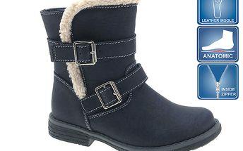 Dětská tmavě modrá vysoká obuv se dvěma řemínky Beppi
