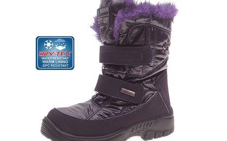 Dámské fialové sněhule s kožíškem Beppi