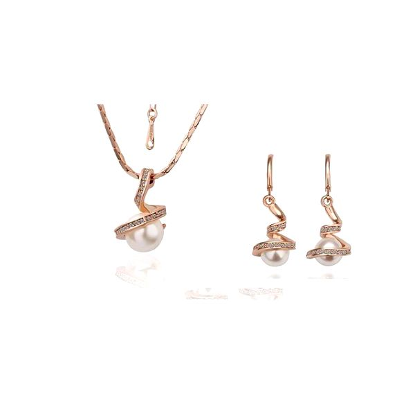 Luxusná sada náhrdelníka s náušnicami s perlou a kamienkami v strieborno-zlatom farebnom prevedení s retiazkou o dĺžke 45 - 50,8 cm!