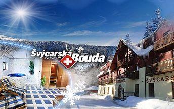 Krásný hotel Švýcarská bouda*** ve Špindlu! Právě napadlo 60cm sněhu, pojeďte na lyže! Pouhých 2299 Kč za 3 dny pro dva včetně POLOPENZE, welcome drinku a privátního WELLNESS se saunou a vířivkou! Lyžování možné přímo u hotelu!