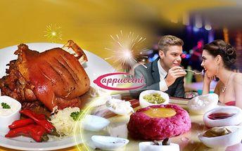 Užijte si silvestrovský večer s bohatým menu jen za 320 Kč za osobu! Tatarák, pečené koleno a další dobroty na Vás na Silvestra čekají v Pizzerii Cappuccini v Praze! Sleva 60%!