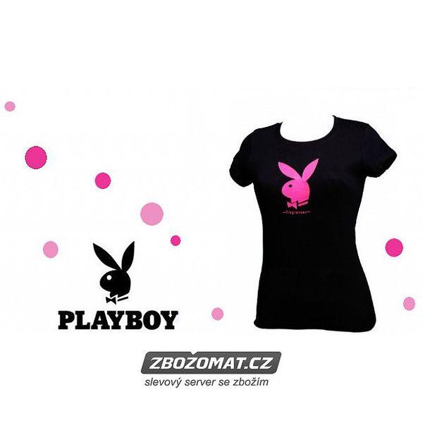 Dámské triko Playboy vel. S/M - zamilujte se do růžového králíčka!