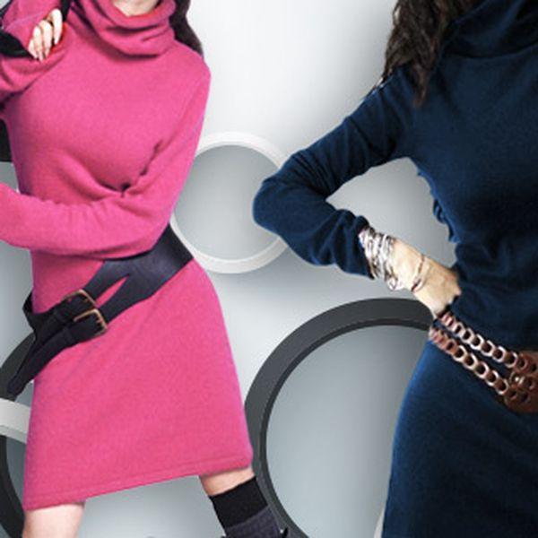 Dámské úpletové šaty s rolákem