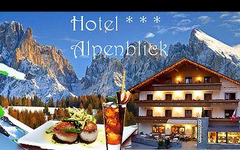 Skvělé LYŽOVÁNÍ v Jižním TYROLSKU na 4 nebo 5 dní pro 1 osobu včetně POLOPENZE, SKIPASU a WELCOME DRINKU v luxusním hotelu ALPENBLICK*** již od 4 790 Kč! Špičkové sjezdovky, výlety na sněžnicích i relax v hotelovém WELLNESS!