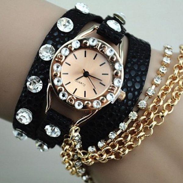 Náramkové hodinky s řetízkem a kamínky - 5 barev a poštovné ZDARMA! - 506993