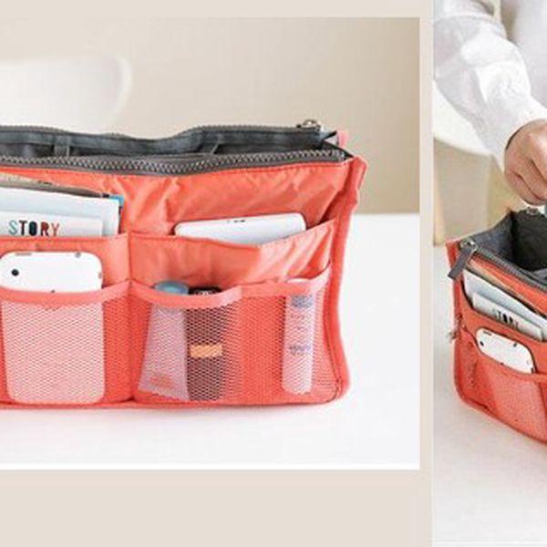 Praktický organizér nielen do kabelky alebo tašky v oranžovej farbe s množstvom vreciek a priehradok!