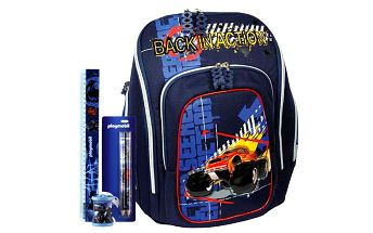 Školní batoh Cool Cherry set motiv Playmobil: ořezávátko, pravítko, tužka
