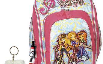 Pokrokový školní batoh Cherry s motivem tří holek s kytarou RockBabe z kolekce COOL, barva modro-růžová.