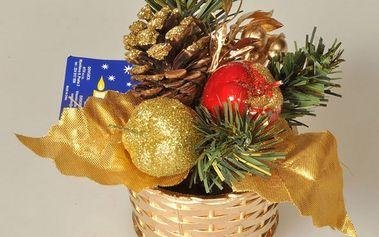 Vánoční zdobený košík, v. 14 cm, zlatý, HTH