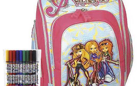 Školní batoh Cool Cherry set fixy s motivem Diddl