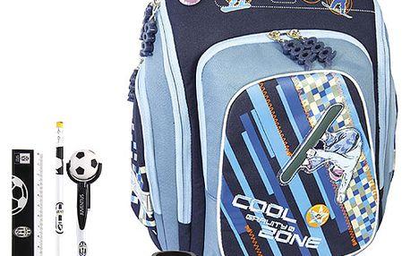 Školní batoh Cool Cherry set motiv Juventus: guma, pero, ořezávátko, pravítko, tužka